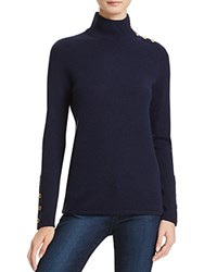 Bloomingdale's C By Button Mock Neck Cashmere Sweater Dark Navy