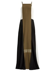 Zeus Dione Maya Pleated Side Panelled Silk Dress Khaki