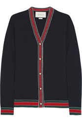Gucci Striped Wool Cardigan Navy