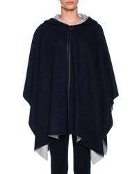 Agnona Cashmere Knit Hooded Cashmere Cape With Leather Trim Blue White