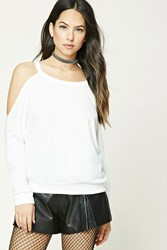 Forever 21 French Terry Open Shoulder Top Ivory
