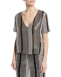 Sally Lapointe Embellished Short Sleeve Top Black Silver
