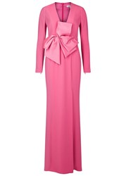 Paule Ka Pink Bow Embellished Satin Gown
