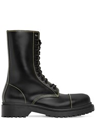 Balenciaga Amphibia Leather Boots W Stitching Black