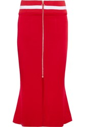 Maggie Marilyn Focus On The Good Striped Jersey Trimmed Satin Midi Skirt Red