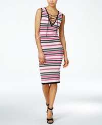 Xoxo Juniors' Striped Lace Up Bodycon Dress Pink Multi