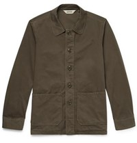 Aspesi Garment Dyed Cotton Twill Shirt Jacket Green