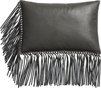Cb2 Leather Fringe Grey 18 X12 Pillow With Feather Down Insert
