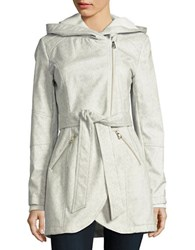 Jessica Simpson Hooded Fleece Lined Jacket Grey Herringbone