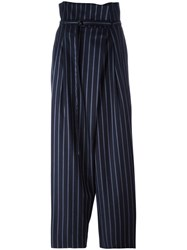 Enfold Belted Loose Fit Striped Trousers Blue