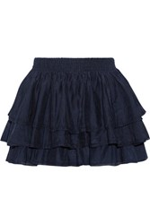 Joie Tiarella Tiered Cotton And Silk Blend Mini Skirt Midnight Blue