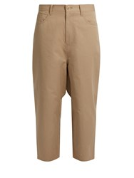 Yohji Yamamoto Distressed Dot Cropped Cotton Drill Trousers Beige