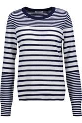 Equipment Shane Striped Cashmere Sweater Navy