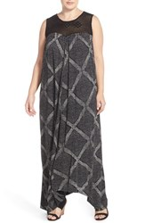 Plus Size Women's Lucky Brand Crochet Yoke Print Maxi Dress Black Multi
