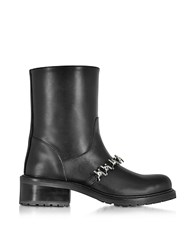 Dsquared2 Babe Wire Black Leather Flat Ankle Boot