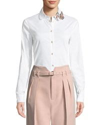 Red Valentino Bead Embellished Poplin Blouse White