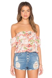 Lucca Couture Printed Off Shoulder Crop Top Peach
