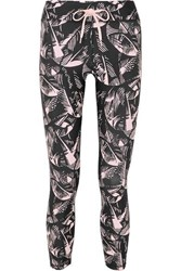 The Upside Japanese Forest Printed Stretch Leggings Black