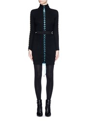 Preen 'Katya' Lace Up Turtleneck Sweater Dress Black