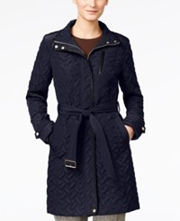 Cole Haan Faux Leather Trim Belted Quilted Coat Dark Navy