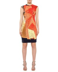 Akris Punto Rock Climbing Wall Printed Cap Sleeve Dress Rust Navy Rust Navy