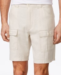 Tasso Elba Men's Linen Blend Cargo Shorts Only At Macy's Natural