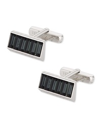 Thompson London Rectangular Cuff Links W Baguette Stone Detail Gray