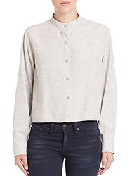 Rag And Bone Leeds Cropped Button Front Blouse Heather