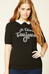 Forever 21 Plus Size Je Taime Graphic Top Black White
