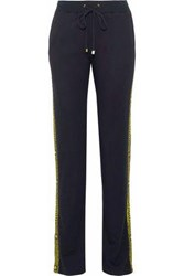 Versace Woven Trimmed Stretch Jersey Track Pants Black