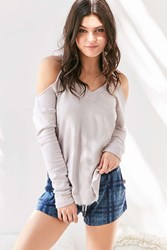 Truly Madly Deeply Open Shoulder Hoodie Sweatshirt Lilac