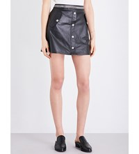 The Kooples Chain Trim High Rise Leather Skirt Bla01