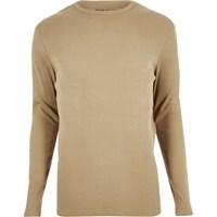 River Island Mens Brown Ribbed Long Sleeve T Shirt