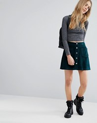 Pull And Bear Pullandbear Velvet A Line Skirt Green