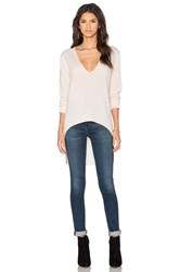 Halston V Neck High Low Sweater Ivory