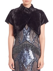 Alberto Makali Faux Fur Short Sleeve Bolero Black