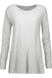 Majestic Stretch Cotton And Cashmere Blend Jersey Top Light Gray