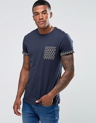 New Look T Shirt With Geo Print Pocket In Navy Navy