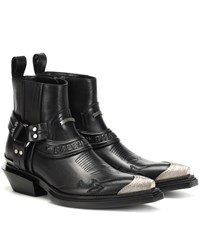 Balenciaga Santiag Harness Leather Ankle Boots Black