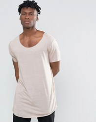 Asos Super Longline T Shirt In Fine Slinky Jersey With Side Ruching And Boat Neck Doe Skin Tan