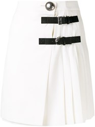 Alexander Mcqueen Pleated Mini Skirt Women Silk Virgin Wool 42 White
