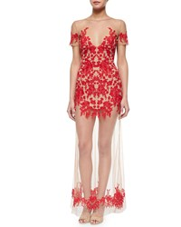 For Love And Lemons Luau Embroidered Sheer Mesh Maxi Dress Red And Nude