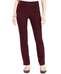 Charter Club Cambridge Tummy Control Slim Leg Pants Only At Macy's Cranberry Red
