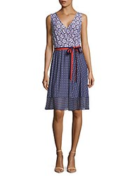 Donna Morgan Mixed Print Mock Wrap Dress Blue Multi