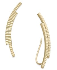 Macy's Textured Double Bar Ear Climber Earrings In 10K Gold Yellow Gold