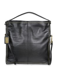 Badgley Mischka Zoe Calf Hair And Leather Studded Hobo Bag Black