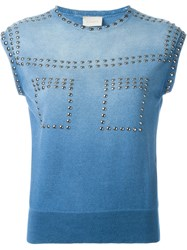 Laneus Faded Stud Detail Knitted Tank Top Blue