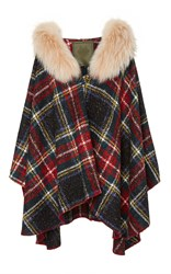 Mr And Mrs Italy Old School Check Fur Trim Cape Plaid