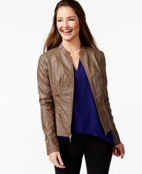 Alfani Petite Faux Leather Motorcycle Jacket Only At Macy's Deep Beige