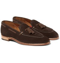 Grenson Scott Tasselled Suede Loafers Dark Brown